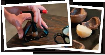 写真:マカダミアナッツの殻割りの様子